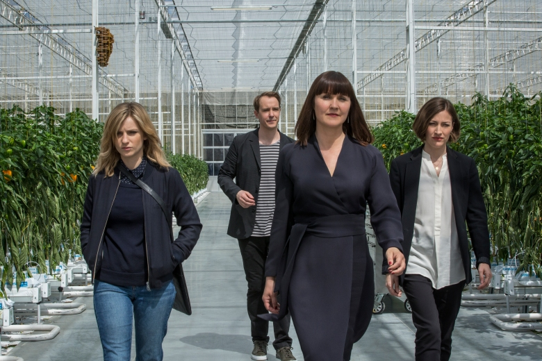 "Faye Marsay, Jonas Karlsson, Esther Hall and Kelly Macdonald in ""Black Mirror"""