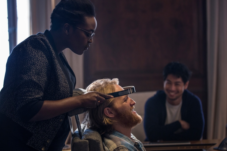 "Wunmi Mosaku, Wyatt Russell and Ken Yamamura in ""Black Mirror."""