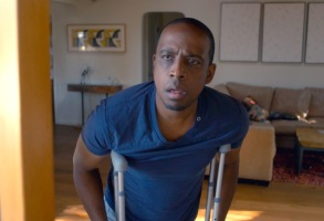 "Keith Powell in ""Keith Broke His Leg."""