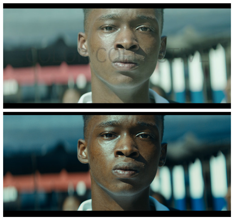 A raw image from the camera compared to the final color graded image that appears in the movie.