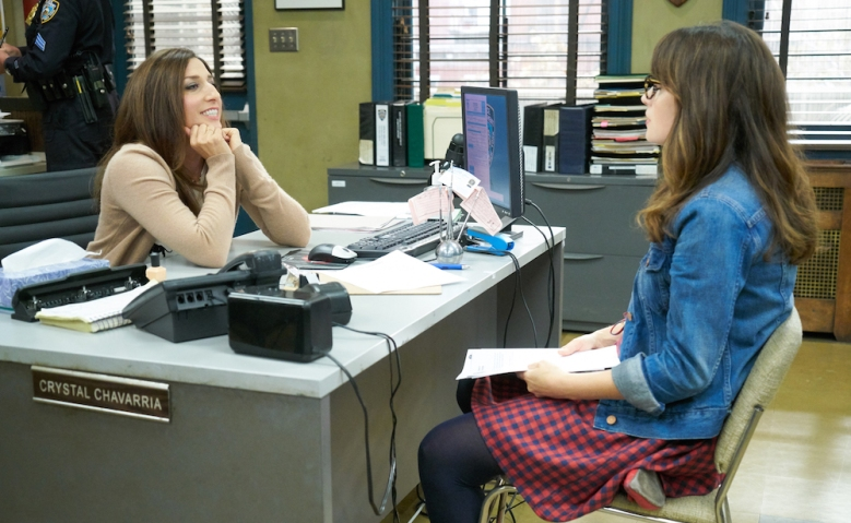 "NEW GIRL: L-R; Guest star Chelsea Peretti and Zooey Deschanel in the special ""Homecoming"" NEW GIRL/BROOKLYN NINE-NINE crossover episode of NEW GIRL airing Tuesday, Oct. 11 (8:31-9:01 PM ET/PT) on FOX"