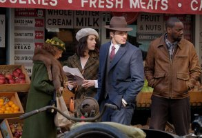 "TIMELESS ""Pilot"" Abigail Spencer as Lucy Preston, Matt Lanter as Wyatt Logan, Malcolm Barrett as Rufus Carlin"