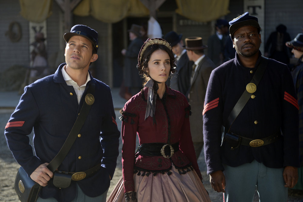 "TIMELESS -- ""The Assassination of Abraham Lincoln"" Episode 101 Matt Lanter as Wyatt Logan, Abigail Spencer as Lucy Preston, Malcolm Barrett as Rufus Carlin"