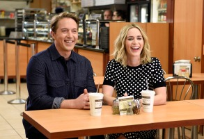 """SATURDAY NIGHT LIVE -- """"Emily Blunt"""" Episode 1707 -- Pictured: (l-r) Beck Bennett and host Emily Blunt on October 11, 2016 -- (Photo by: Rosalind O'Connor/NBC)"""