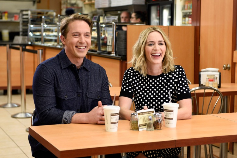 "SATURDAY NIGHT LIVE -- ""Emily Blunt"" Episode 1707 -- Pictured: (l-r) Beck Bennett and host Emily Blunt on October 11, 2016 -- (Photo by: Rosalind O'Connor/NBC)"