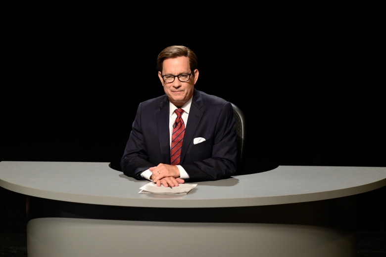 "SATURDAY NIGHT LIVE -- ""Tom Hanks"" Episode 1708 -- Pictured: Tom Hanks as Chris Wallace during the ""Third Debate Cold Open"" sketch on October 22, 2016 -- (Photo by: Will Heath/NBC)"