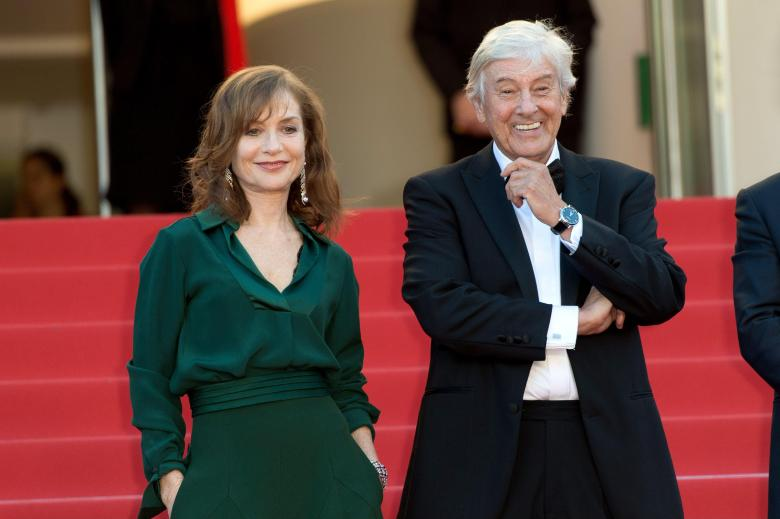 Isabelle Huppert and director Paul Verhoeven at Cannes 'Elle' premiere.