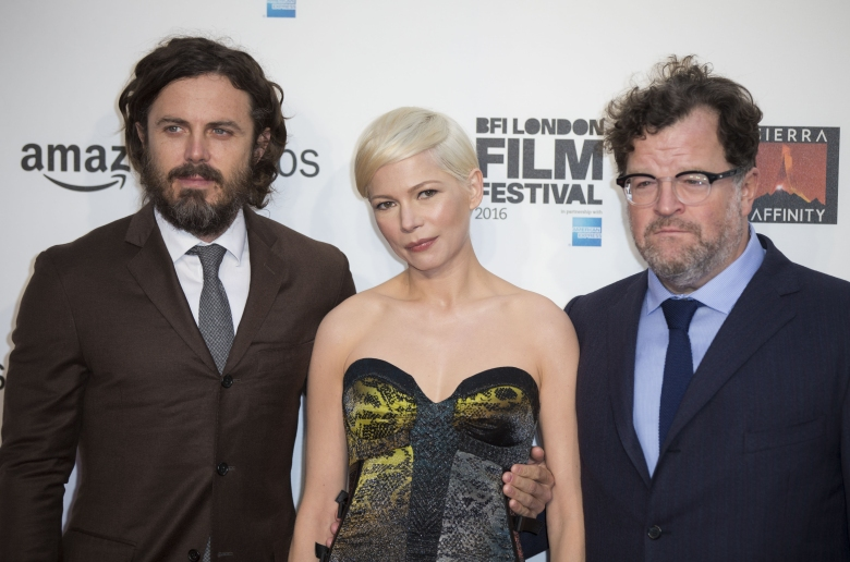 Kenneth Lonergan, Casey Affleck and Michelle Williams at 'Manchester By The Sea' at London Film Festival.