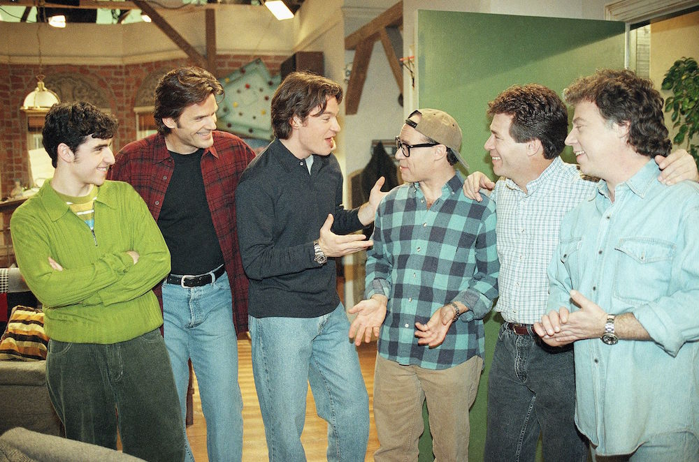 "Jason Bateman, third from left, who plays Harry on the NBC comedy show ""Chicago Sons,"" talks with cast members from the 1960's TV show ""My Three Sons,"" from left to right, actors Barry Livingston (Ernie, with glasses), Don Grady (Rob) and Stanley Linvingston (Chip), after a cameo appearance during taping of the show on in Burbank, California. Listening in are fellow cast members of Bateman, David Krumholtz (Billy), far left, and D.W. Moffett (Mike Jason Bateman, Burbank, USA"