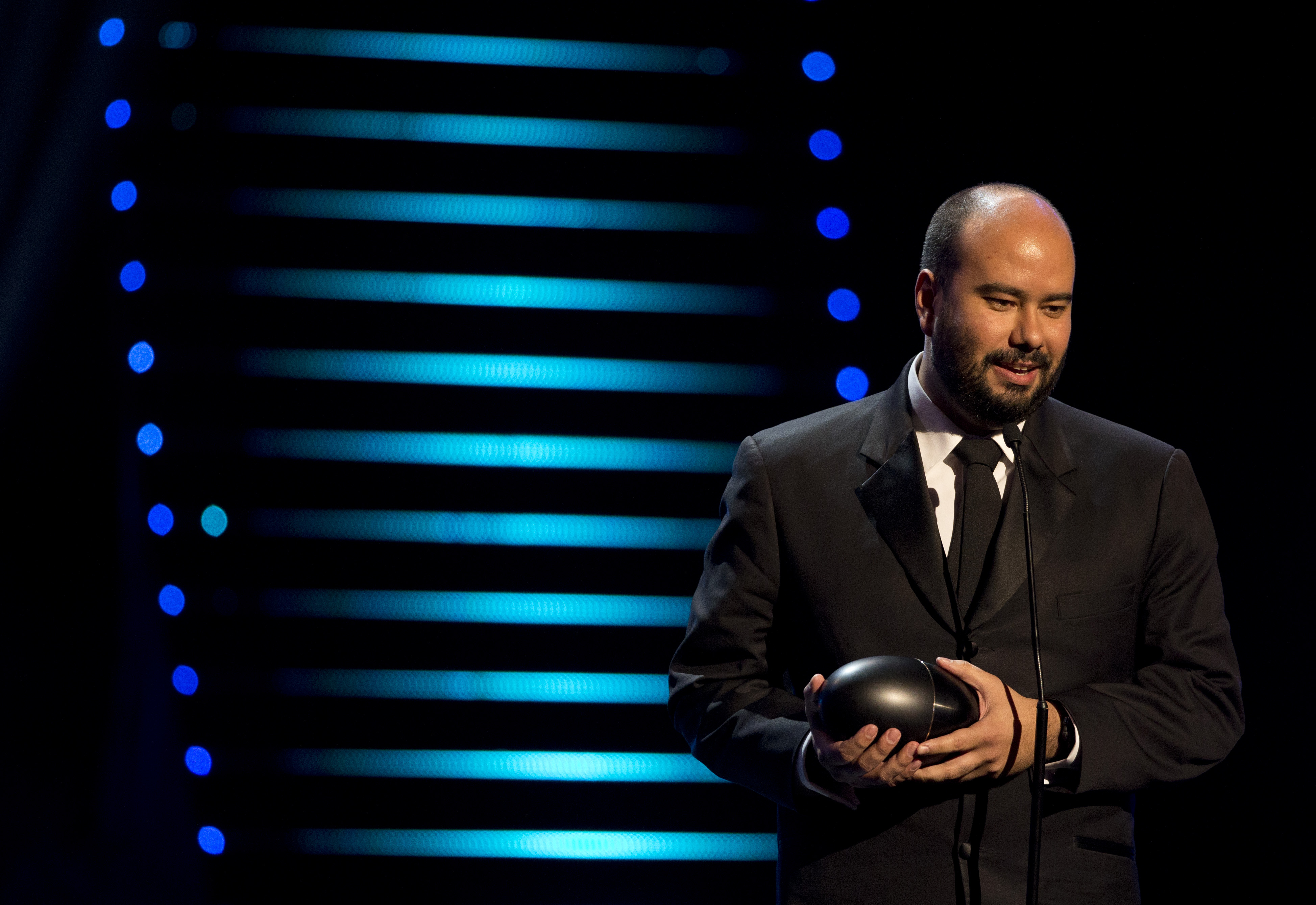 "Ciro Guerra receives the best director award for his film ""The Embrace of the Serpent."""