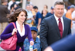 "Mandatory Credit: Photo by Charles Sykes/REX/Shutterstock (794333j) Tina Fey and Alec Baldwin ""30 Rock"" TV Filming, New York, America - 27 Aug 2008 Filming for Season 3"