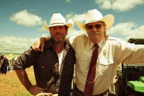 "Taylor Sheridan and Jeff Bridges on set of ""Hell or High Water"""