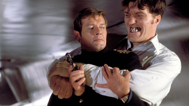 "Roger Moore and Richard Kiel in ""The Spy Who Loved Me"""