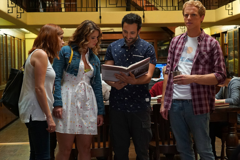 "YOU'RE THE WORST -- ""The Last Sunday Funday"" -- Episode 306 (Airs Wednesday, October 5, 10:00 pm e/p -- Pictured: (l-r) Aya Cash as Gretchen Cutler, Kether Donohue as Lindsay Jillian, Desmin Borges as Edgar Quintero, Chris Geere as Jimmy Shive-Overly"