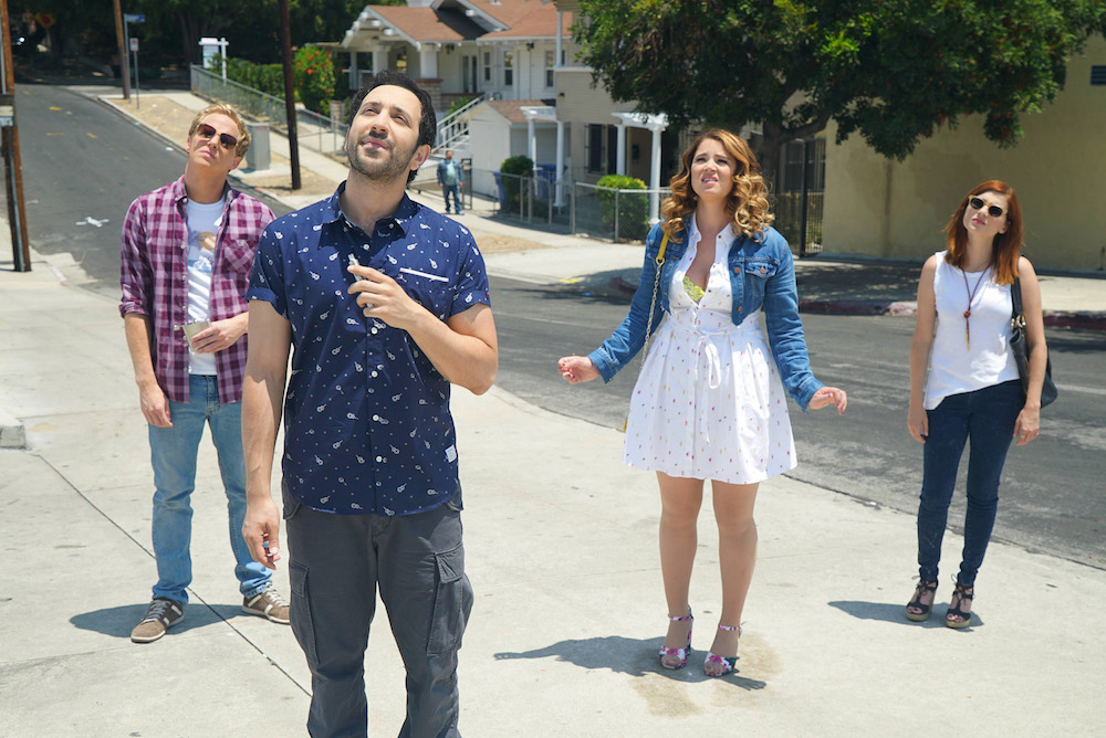 "YOU'RE THE WORST -- ""The Last Sunday Funday"" -- Episode 306 (Airs Wednesday, October 5, 10:00 pm e/p -- Pictured: (l-r) Chris Geere as Jimmy Shive-Overly, Desmin Borges as Edgar Quintero, Kether Donohue as Lindsay Jillian, Aya Cash as Gretchen Cutler"