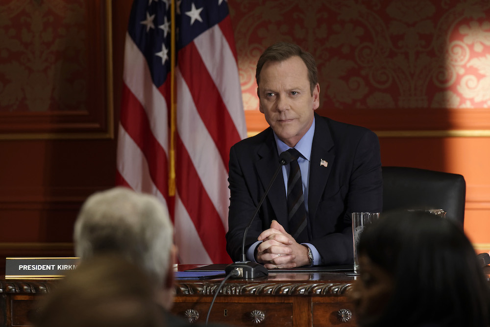"DESIGNATED SURVIVOR - ""The Interrogation"" - When shots ring out at The White House during a Governors Summit, President Kirkman's plans at electing a new Congress are thrown into turmoil, while Agent Hannah Wells continues investigating the Capitol bombing and makes one of her most shocking discoveries yet on ABC's ""Designated Survivor"" Kiefer Sutherland"