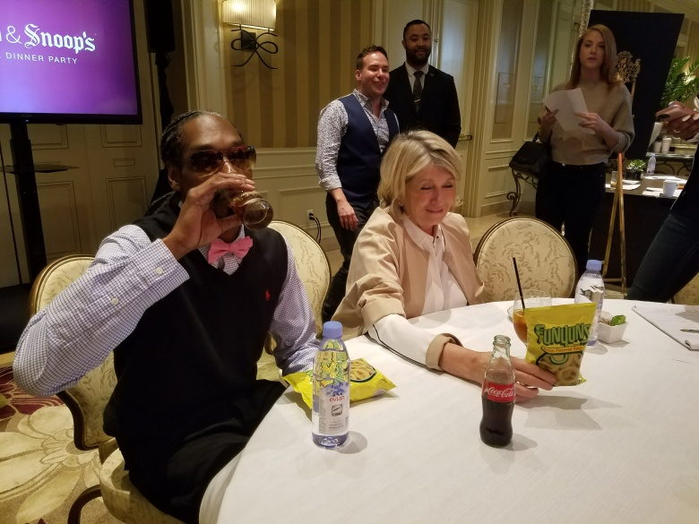 "Martha Stewart tries Funyuns during press day for ""Martha & Snoop's Potluck Dinner Party"""