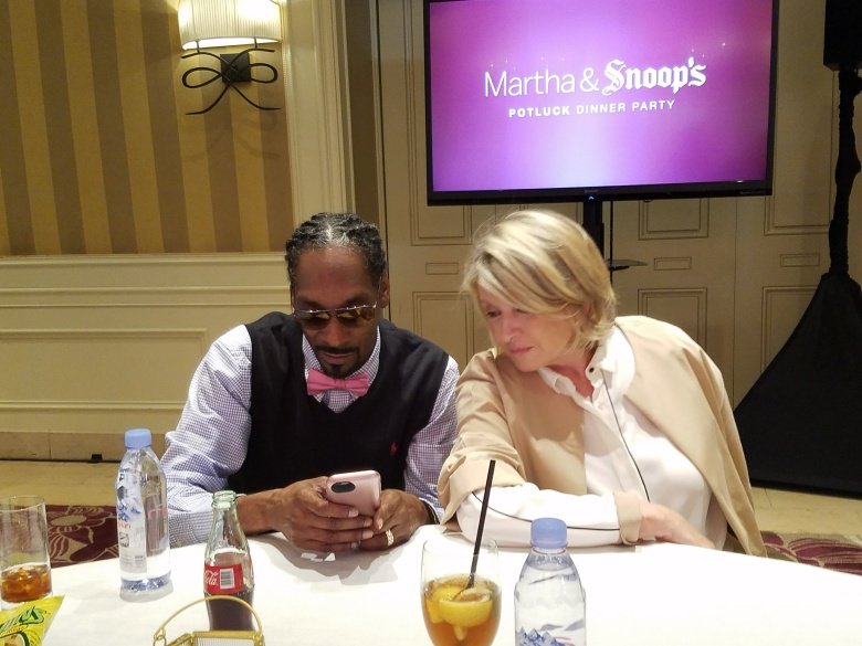 "Snoop Dogg shows Martha Stewart how to use Snapchat filters during a press day for ""Martha & Snoop's Potluck Dinner Party"""