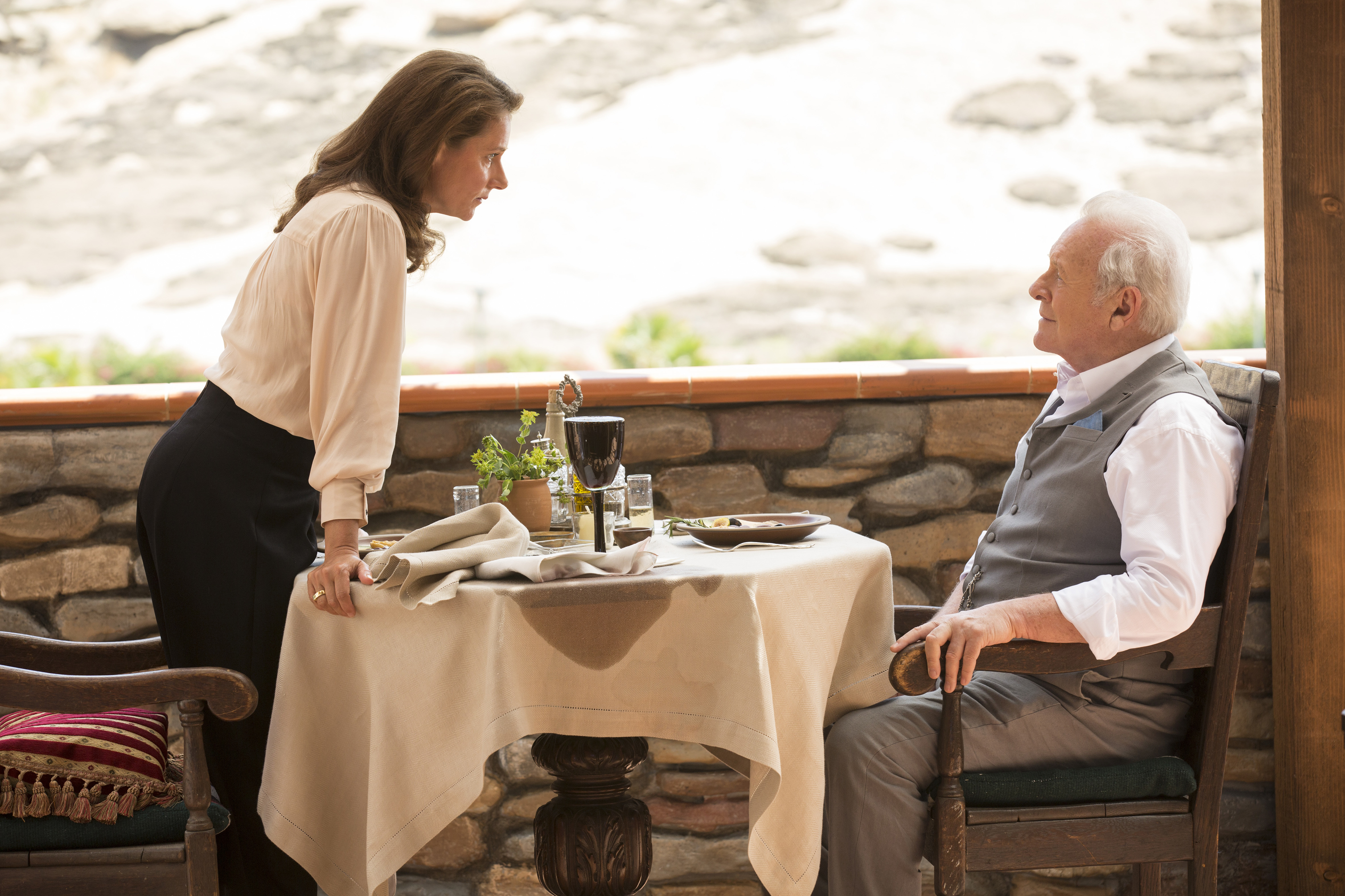 "Sidse Babett Knudsen and Anthony Hopkins in ""Westworld."""