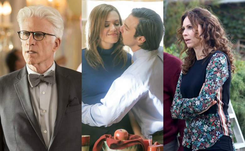 Ted Danson in The Good Place, Mandy Moore & Milo Ventimiglia in This Is Us, and Minnie Driver in Speechless