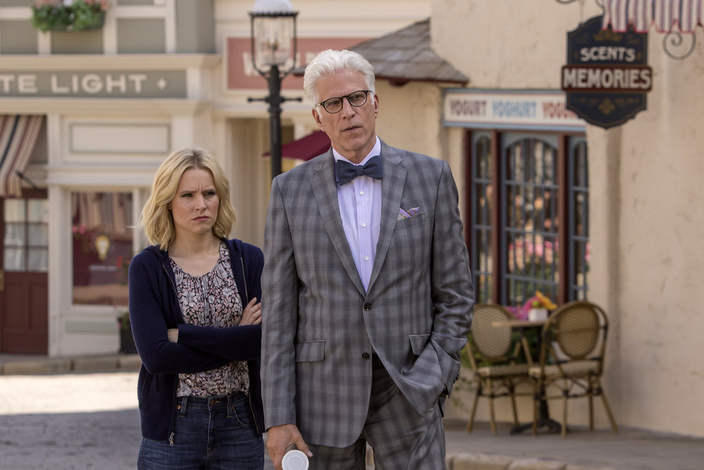 "THE GOOD PLACE ""Most Improved Player"" Episode 107 Kristen Bell as Eleanor, Ted Danson as Michael"