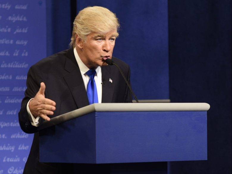 "SATURDAY NIGHT LIVE -- ""Margot Robbie"" Episode 1705 -- Pictured: Alec Baldwin as Republican Presidential Candidate Donald Trump during the ""Debate Cold Open"" sketch on October 1, 2016 -- (Photo by: Will Heath/NBC)"
