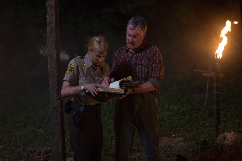 "John C. McGinley and Janet Varney in ""Stan Against Evil."""