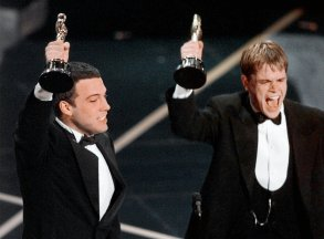 "Ben Affleck and Matt Damon win the Oscar for Best Original Screenplay for ""Good Will Hunting"""