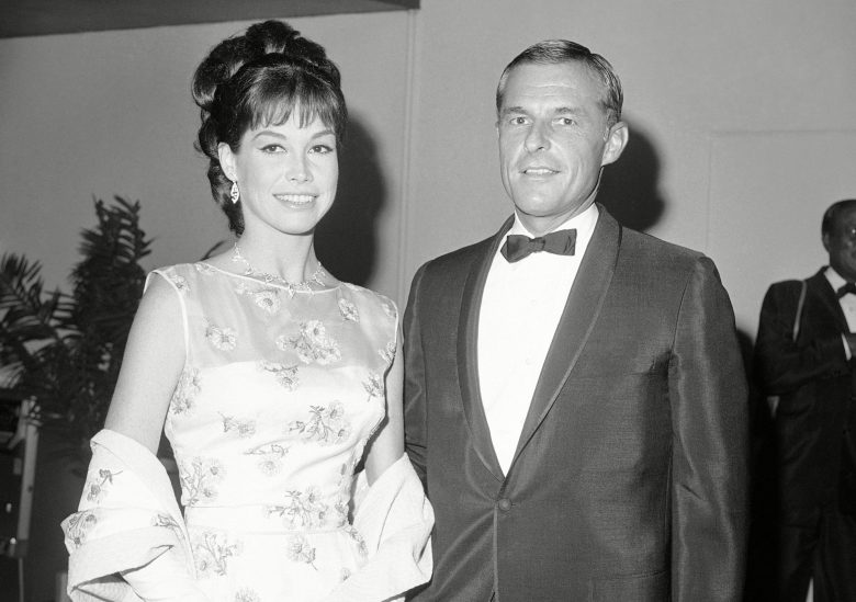 Mary Tyler Moore and  Grant Tinker at the Emmy Awards in 1966