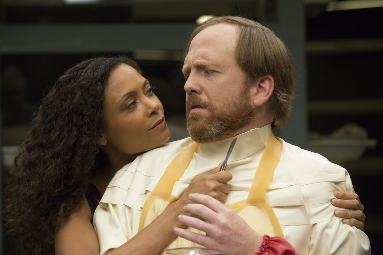 Thandie Newton as Maeve and Ptolemy Slocum as Sylvester in Westworld.