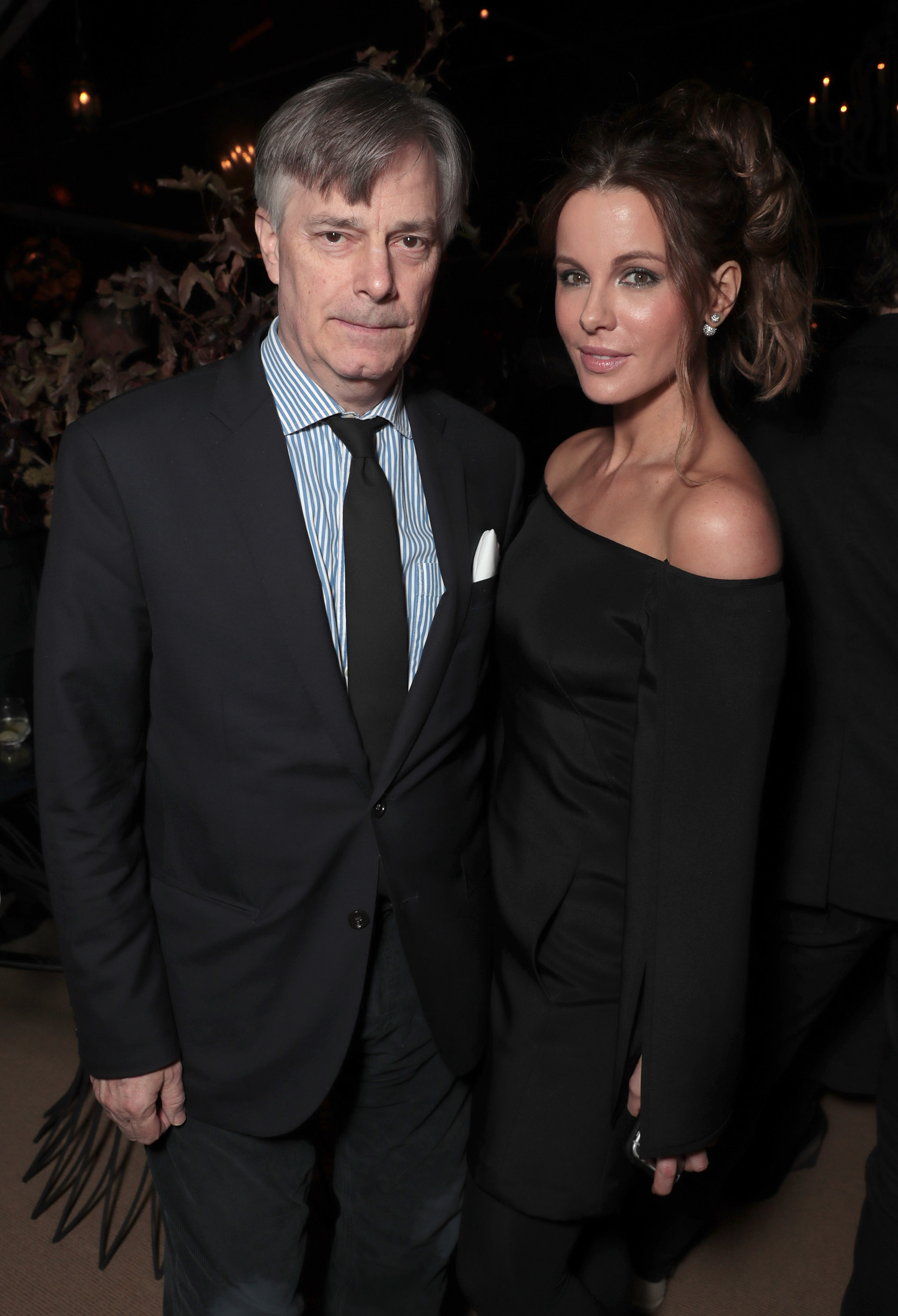 "Director Whit Stillman and Kate Beckinsale attend Jeff Bezos and Matt Damon's ""Manchester By The Sea"" Holiday Party."