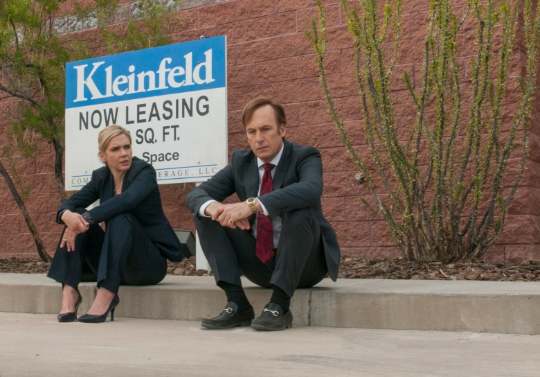 Rhea Seehorn as Kim Wexler, Bob Odenkirk as Jimmy McGill in Better Call Saul - Season 2, Episode 8. Photo Credit: Ursula Coyote/Sony Pictures Television/AMC