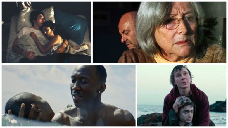 "Clockwise from left: ""Paterson,"" ""The Academy of Muses,"" ""Moonlight,"" ""Swiss Army Man"""