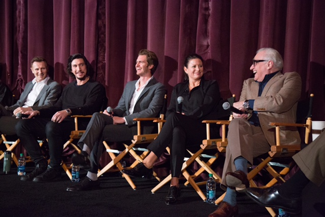 "Liam Neeson, Adam Driver, Andrew Garfield, Emma Tillinger Koskoff and Martin Scorsese at a screening of ""Silence."""