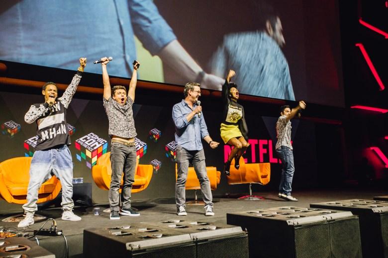 Netflix Panel @ CCXP 2016, Brazil Comic Con in São Paulo. Michel Gomes, Rafael Lozano, Vaneza Oliveira, Rodolfo Valente, 3%. (photo Pedro Saad/Netflix)(photo Pedro Saad/Netflix)
