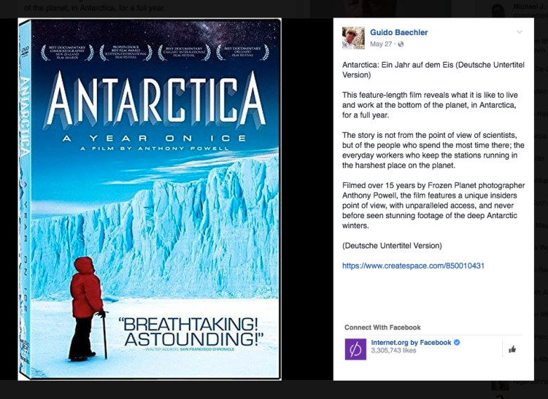 """Guido Baechler Promoting the sale of """"Antartica: A Year On Ice"""" on his Facebook page"""