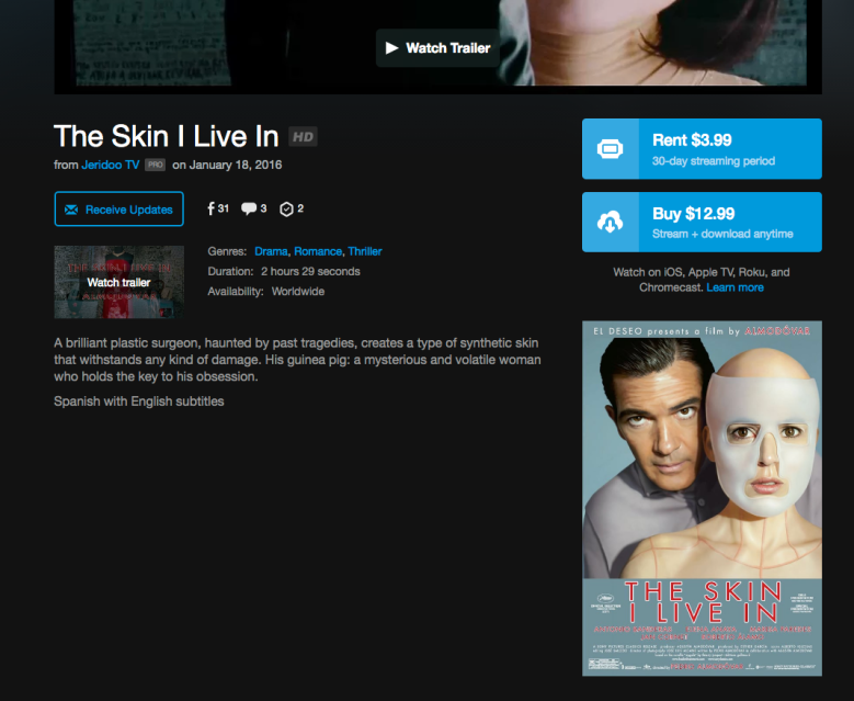"""Pedro Almodovar's """"The Skin I Live In"""" being sold by Jeridoo TV on Vimeo"""