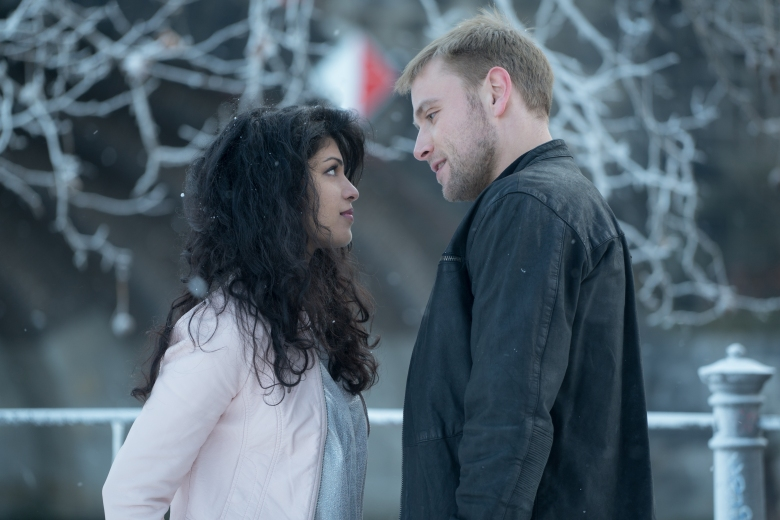 "Tena Desae and Max Riemelt in ""Sense8."""
