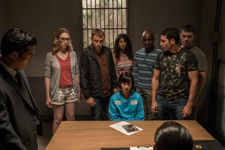 "Jamie Clayton, Max Riemelt, Tina Desai, Doona Bae, Toby Onwumere, Miguel Angel Silvestre and Brian J Smith in ""Sense8."""