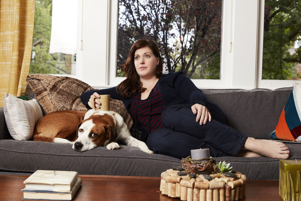 "Ned as Martin and Allison Tolman as Nan, ""Downward Dog."""
