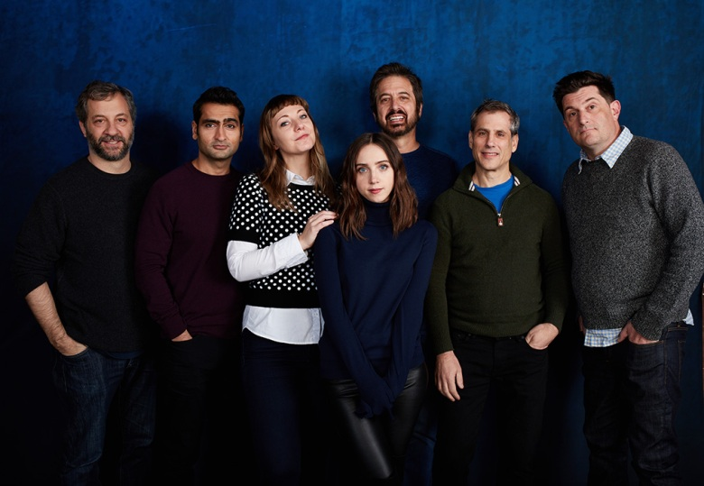 "Judd Apatow, Kumail Nanjiani, Emily Gordon, Zoe Kazan, Ray Romano, Barry Mendel, and Michael Showalter from ""The Big Sick"""