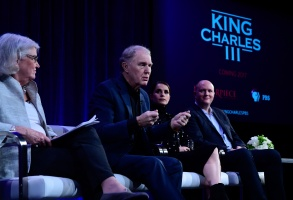 """""""Masterpiece"""" executive producer Rebecca Eaton, Tim Piggott-Smith, Charlotte Riley and writer Mike Bartlett on a panel for """"King Charles III"""""""