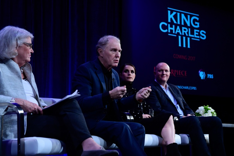 """Masterpiece"" executive producer Rebecca Eaton, Tim Piggott-Smith, Charlotte Riley and writer Mike Bartlett on a panel for ""King Charles III"""