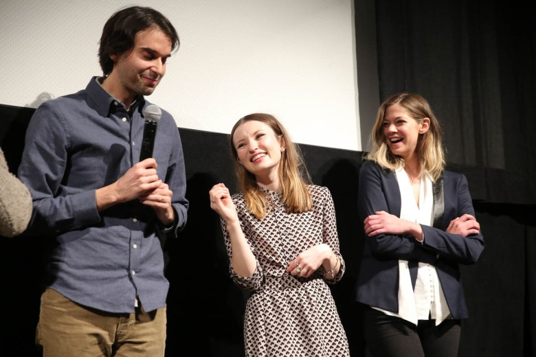 Director Alex Ross Perry, Actor Emily Browning and Actor Analeigh Tipton on stage at the World Premiere of Golden Exits