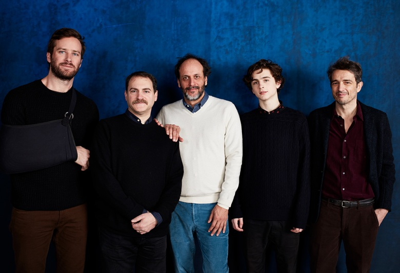 Armie Hammer, Michael Stuhlbarg, Luca Guadagnino, Timothée Chalamet and Walter Fasano