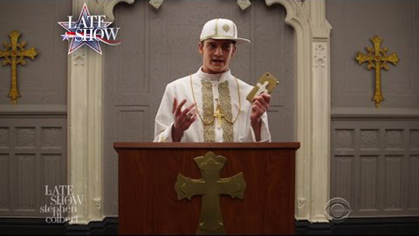 extremely young pope?w=600 stephen colbert pokes fun at 'the young pope' with fake spinoff
