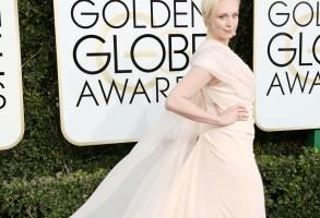 Gwendoline Christie on the 2017 Golden Globes red carpet