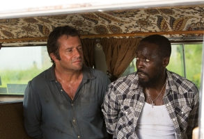 Michael Kenneth Williams as Leonard Pine, James Purefoy as Hap Collins - Hap and Leonard _ Season 1, Episode X - Photo Credit: Hilary Gayle/Sundance Film Holdings LLC