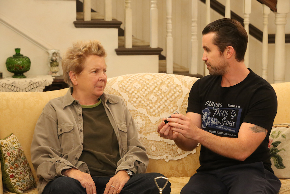 "IT'S ALWAYS SUNNY IN PHILADELPHIA ""Old Lady House: A Situation Comedy"" – Season 12, Episode 3 Sandy Martin as Mrs. Mac, Rob McElhenney as Mac"