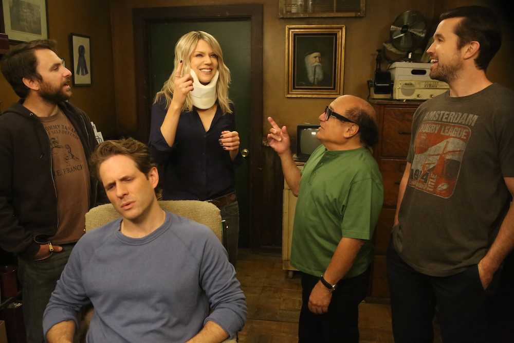 "IT'S ALWAYS SUNNY IN PHILADELPHIA ""Old Lady House: A Situation Comedy"" Season 12, Episode 3 Charlie Day as Charlie, Glenn Howerton as Dennis, Kaitlin Olson as Dee, Danny DeVito as Frank, Rob McElhenney as Mac"